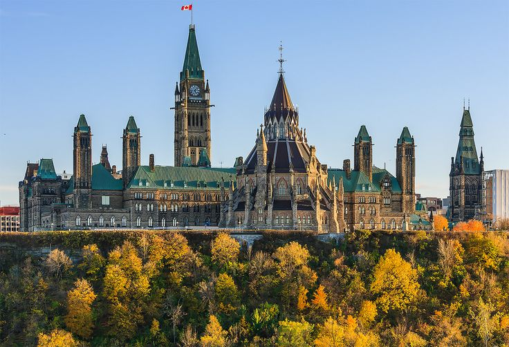 Fall colours at the Parliament Hill, Ottawa.