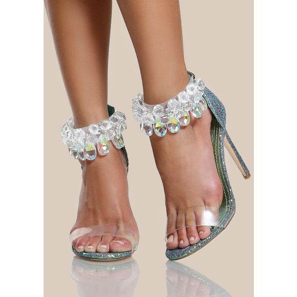 Clear Diamond Studded Strap Glitter Heel MERMAID ($46) ❤ liked on Polyvore featuring shoes, green, glitter shoes, green high heel shoes, glitter high heel shoes, green shoes and clear high heel shoes