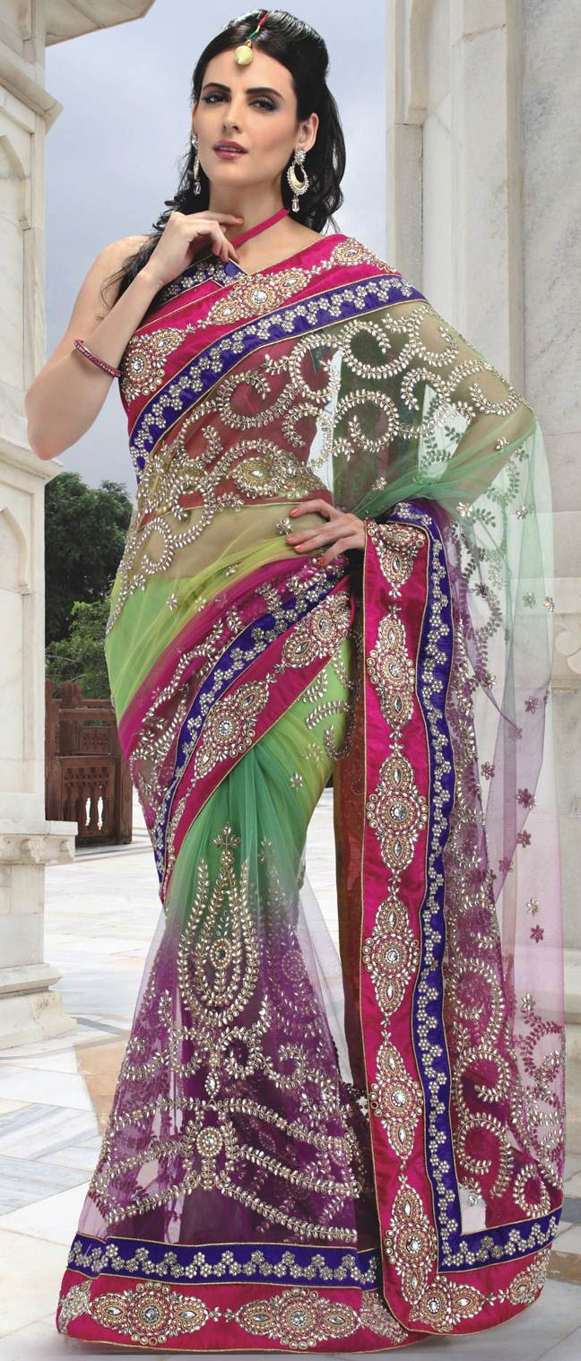 #Green and #Pink Net #Saree with Blouse