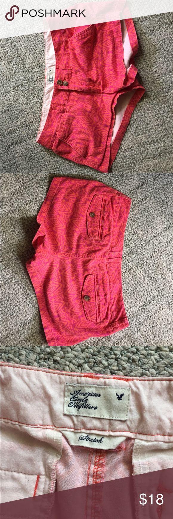 american eagle aztec print shorts pink and orange aztec print stretch shorts American Eagle Outfitters Shorts
