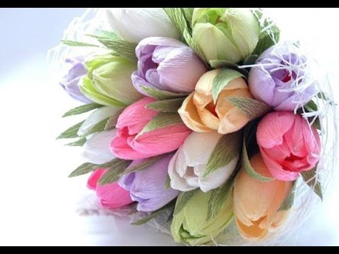 D.I.Y - How to make a paper flower - tulip Part 1 - Làm hoa tulip bằng giấy nhún - YouTube