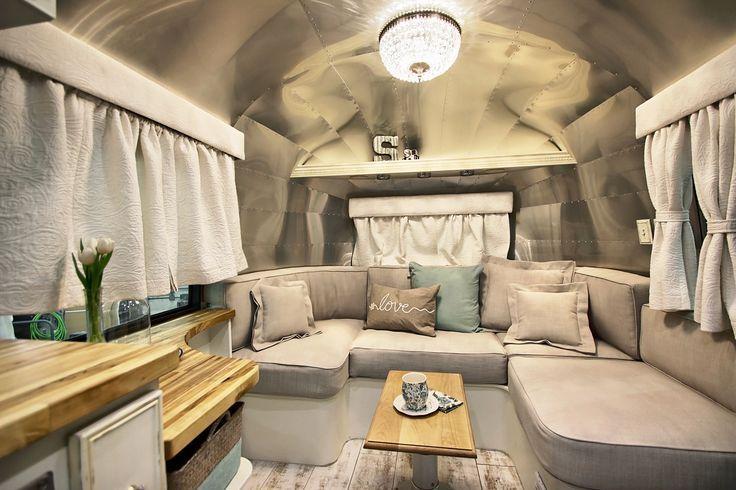Interior living space of our custom-designed shabby chic 1967 Overlander Airstream trailer.