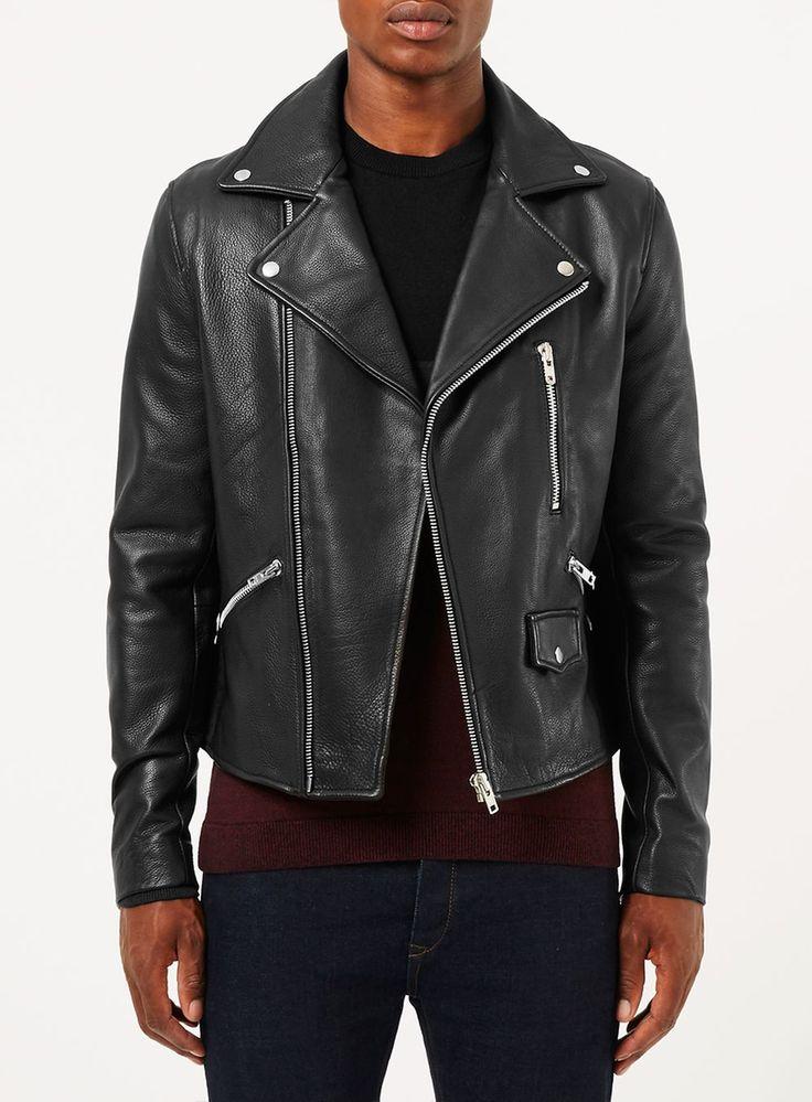 Black Leather Biker Jacket* - Men's Coats & Jackets - Clothing - TOPMAN USA