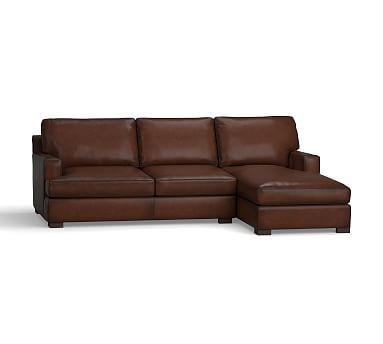 Townsend Square Arm Leather Left Chaise Sofa Sectional, Polyester Wrapped Cushions, Leather Burnished Walnut