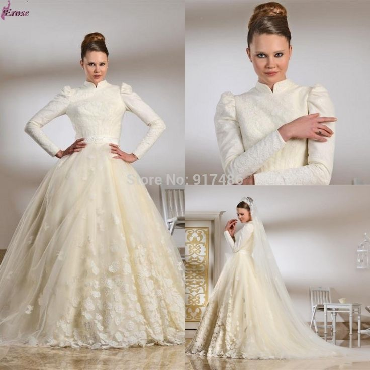 Latest Muslim Wedding Dress 2015 Spring Ball Gown High Neck Long Sleeve Appliques Bridal Wedding Dress