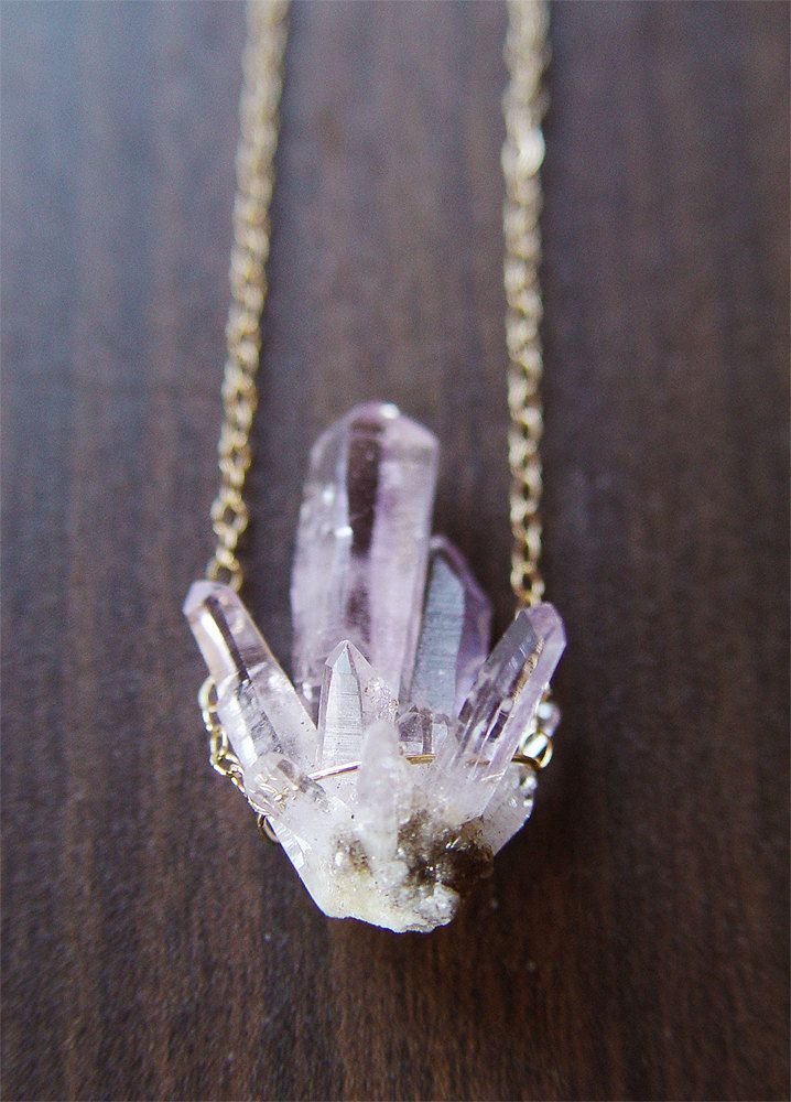 Lavender Amethyst Crystal Necklace - 14 karat gold pendant OOAK. $69.00, via Etsy.