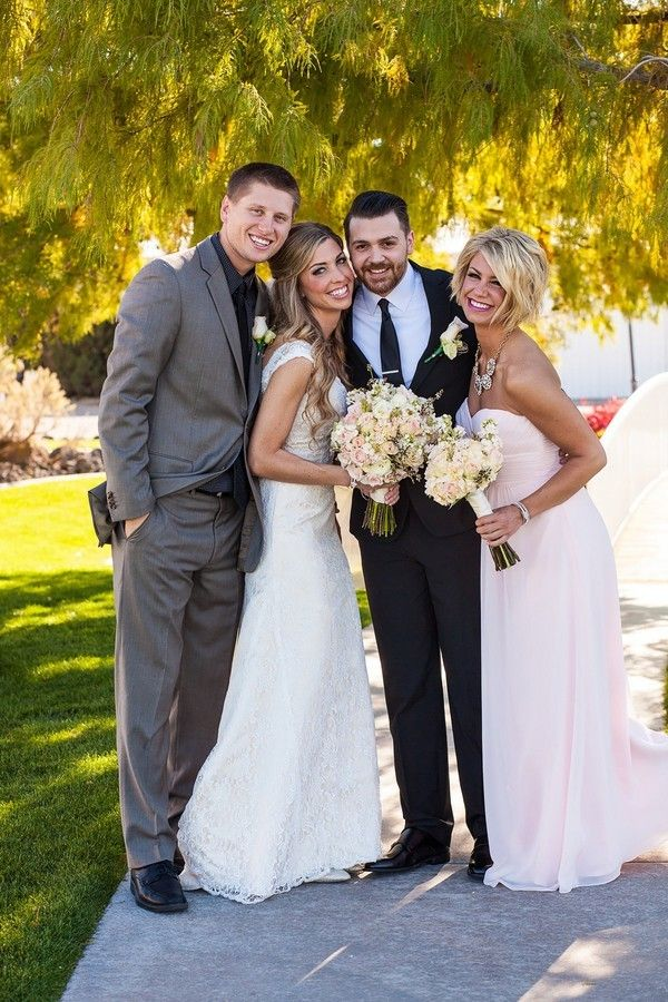 bride and groom with best man and maid of honor @myweddingdotcom