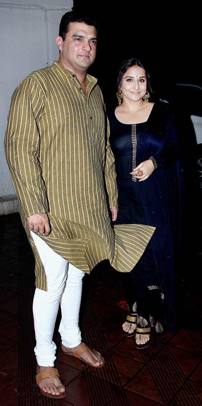 Vidya Balan with hubby Siddharth Roy Kapur at Sanjay Leela Bhansali's surprise bash. #Style #Bollywood #Fashion #Beauty