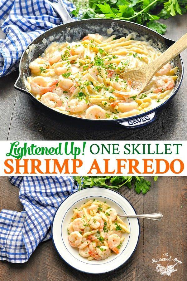 Lightened Up One Skillet Shrimp Alfredo