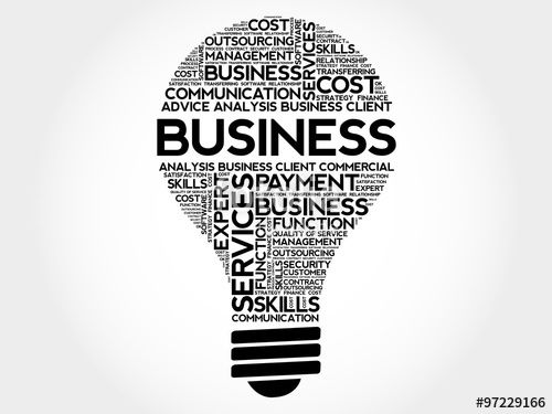 Wektor: BUSINESS bulb word cloud, business concept