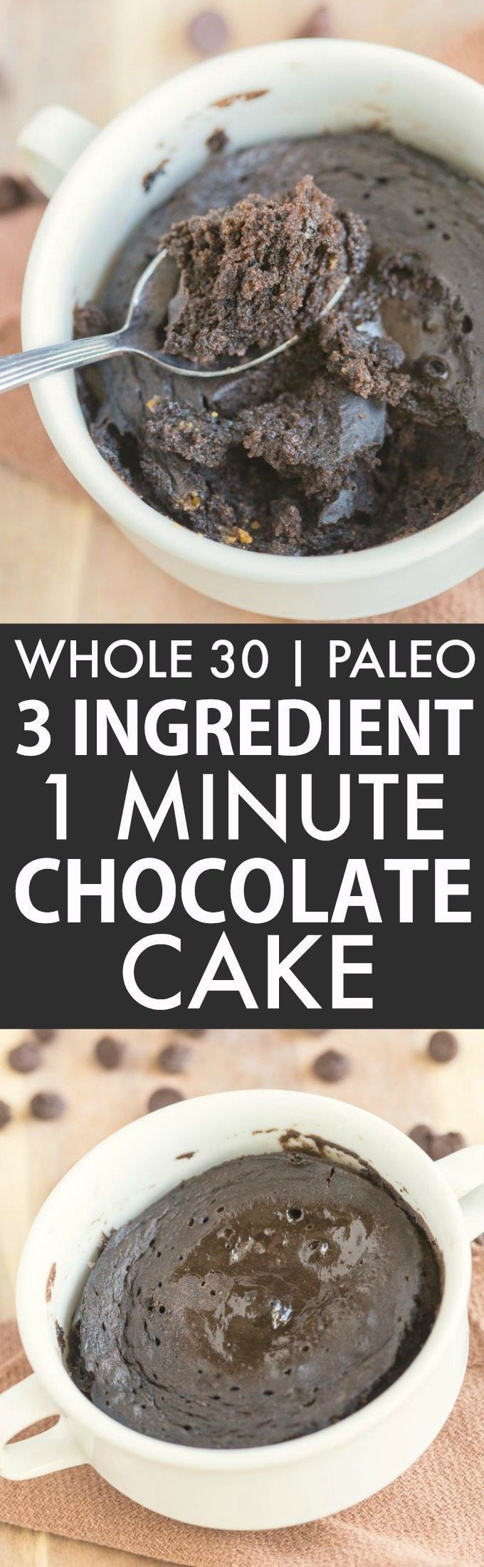 3 Ingredient 1 Minute Chocolate Cake Bake (Whole 30, Paleo, V, GF)- Whole30 friendly breakfast or snack which uses just THREE ingredients- Flourless, grain-free and fruit based and sweetened! Microwave mug cake or oven option! {whole 30, paleo, vegan, gluten free recipe}- http://thebigmansworld.com