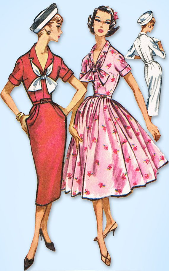 1950s Vintage McCall's Sewing Pattern 4550 Misses Dress