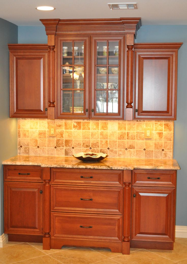 Custom hutch with glass front doors beautiful product for Cherry kitchen cabinets with glass doors
