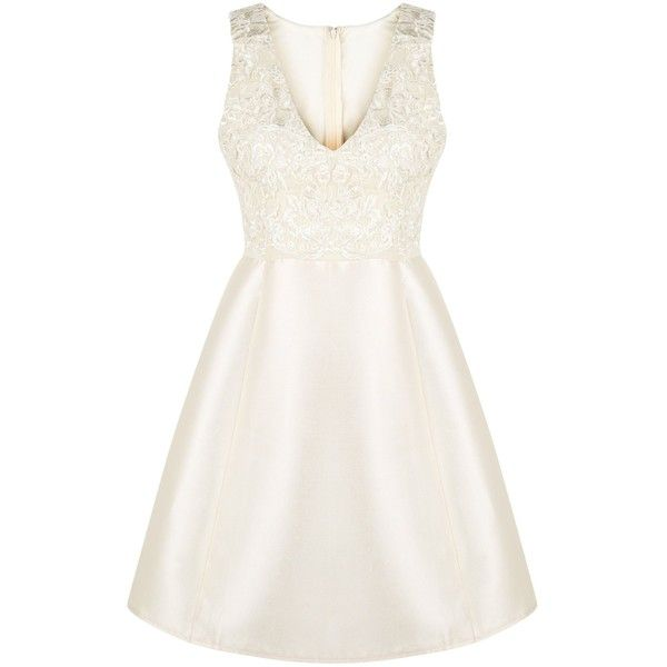 New Look AX Paris Gold Lace Panel Skater Dress ($52) ❤ liked on Polyvore featuring dresses, gold, gold evening dresses, white sleeveless dress, fit and flare cocktail dress, white v neck dress and gold cocktail dress