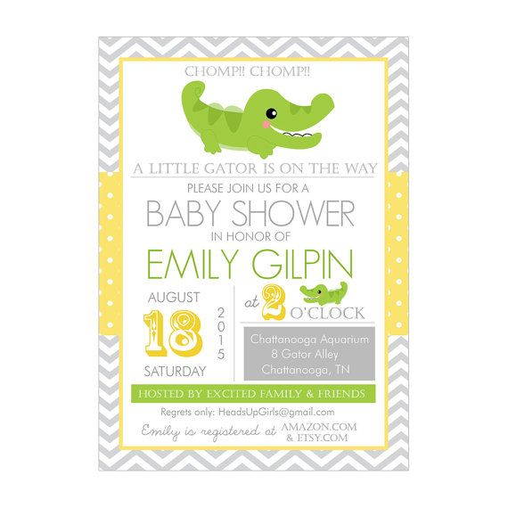 Personalized Yellow And Gray Gender Neutral Alligator Baby Shower Invitations By Headsups Fun Ness Pinterest