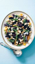 1kg small beetroot, scrubbed 2 oranges, peeled and segmented 400g can chickpeas, rinsed and drained 1 cup rocket leaves 150g feta cheese, crumbled Extra-virgin olive oil Salt and freshly ground black pepper1.
