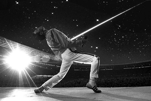 """26 years ago today Freddie Mercury sadly passed away but I'm sure he is now among the stars looking down on us since an asteroid has been named after him last year. ⭐  """"It's just a dot of light but it's a very special dot of light and maybe one day we'll get there,"""" Brian May says   (Artwork By Loopido)"""
