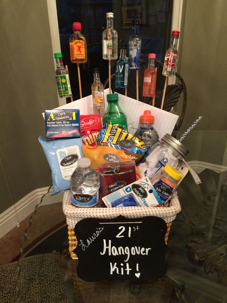 21st Birthday Hangover Kit! Hangover Kit includes:  Water  Gatorade-electrolytes!  Snacks- pretzels/choc. Covered pretzels/animal cookies  Face wipes- clean up after  Tums  Breath Strips/Mints/Gum Sprite- to help the stomach settle  Hair ties- to hold her hair back Advil- to cure the headache   Plus: Mini flask  Miniature alcohol bottles  Mason Jar Glass