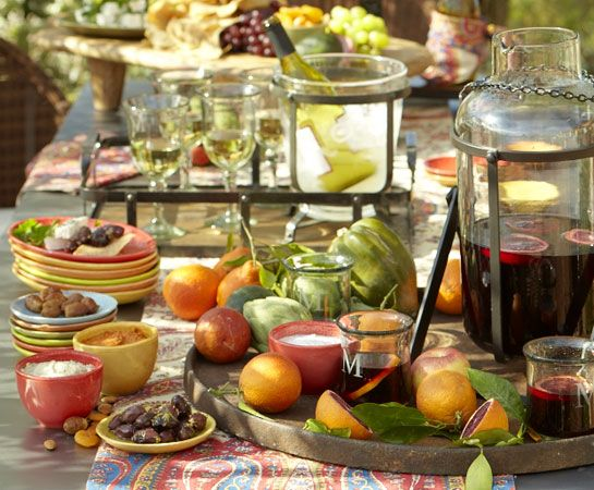 Mediterranean Tapas Party by Pottery Barn. I really like PB's ideas for parties- decor, timeline and recipes for tons of different party styles. Never noticed these on their site before!