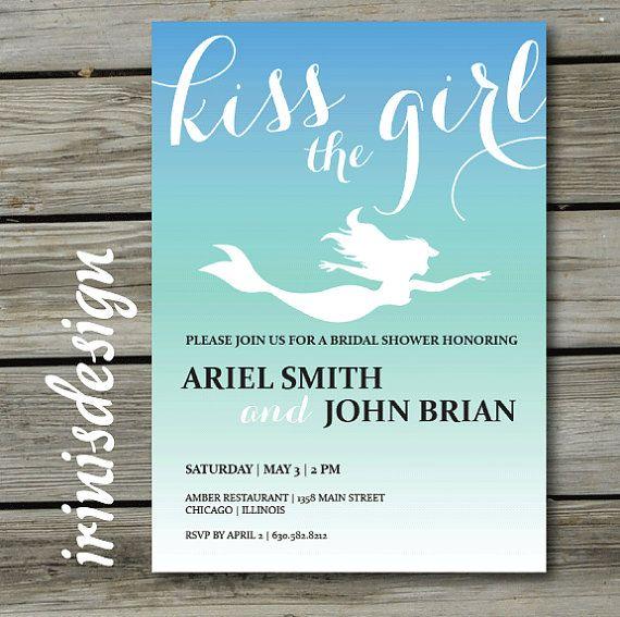 Mermaid Ariel Disney Princess Bridal Wedding Shower invite | Ocean | the little mermaid | kiss the girl | underwater marine invitation | 144 on Etsy, $16.99
