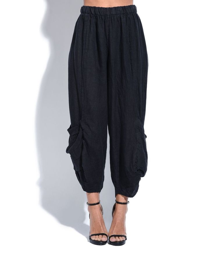 Black Gathered Linen Harem Pants