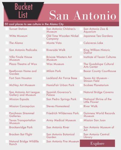 San Antonio Texas Bucket List Wall Art - 50 Fun Things to do in the Alamo City - printable digital design