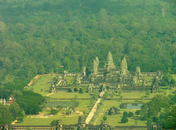 Front entrance to Angkor Wat from helicopter - my birthday gift was the flight !