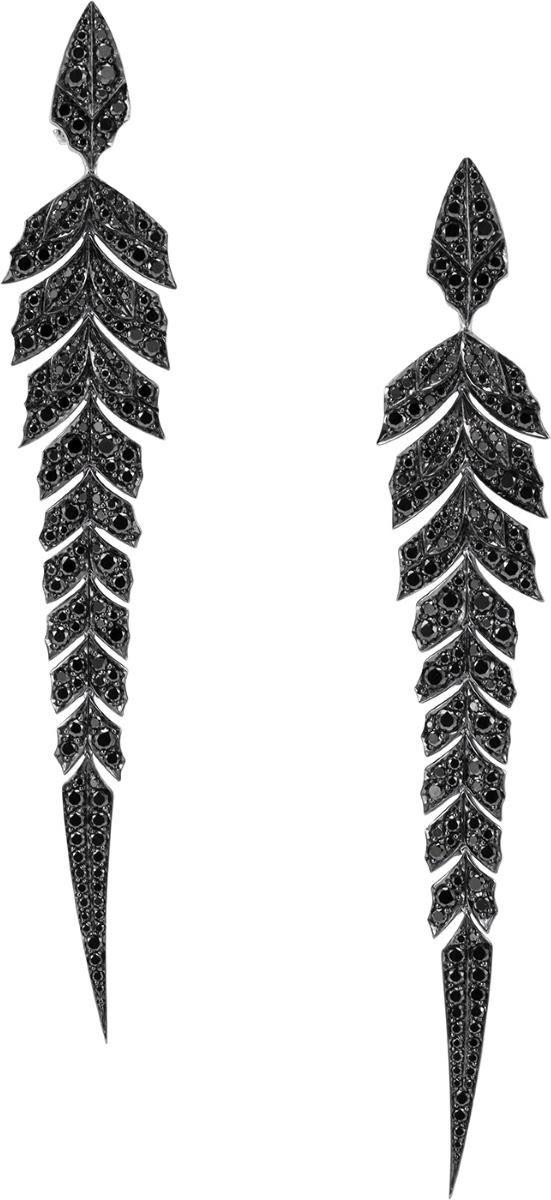 {Pavé earrings in 18k white gold and black diamonds by Stephen Webster.} HT