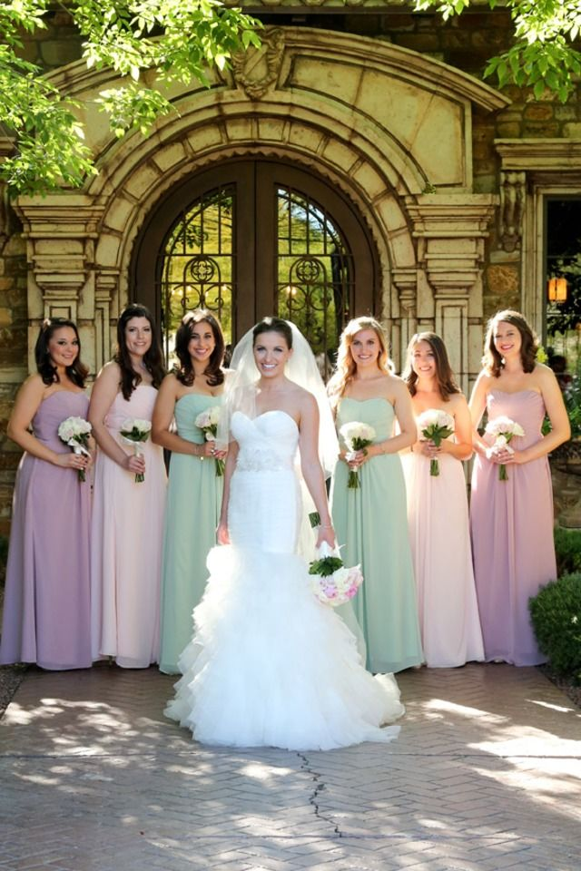 Bride party mint, lavendar and blush strapless gowns with white rose bouquets | One Fine Day Photography | villasiena.cc