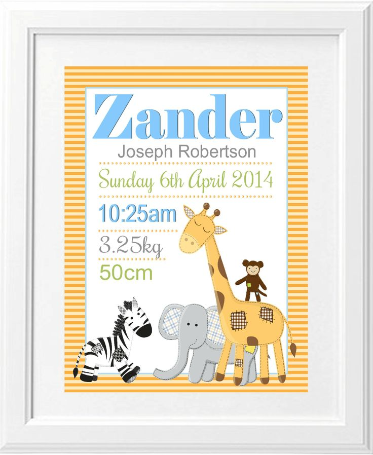 A funky jungle birth print.. Birth announcement for a little boys room in a gorgeous jungle design.