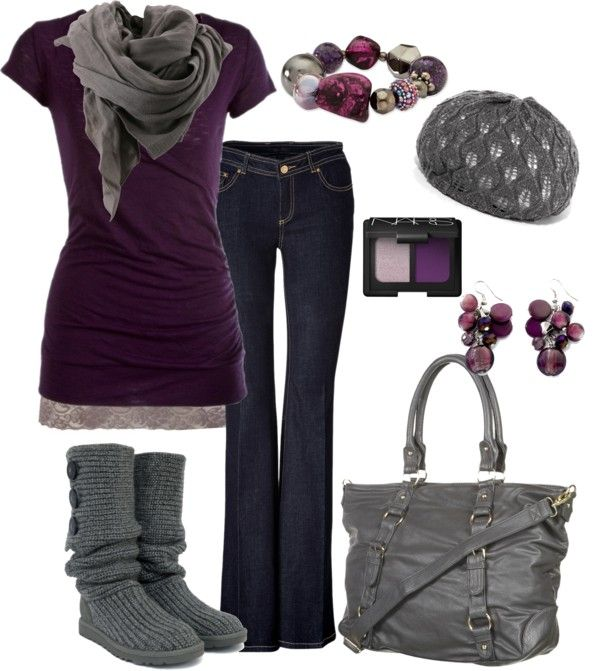 """""""I love Purple and Grey."""" by chelseawate ❤ liked on Polyvore"""