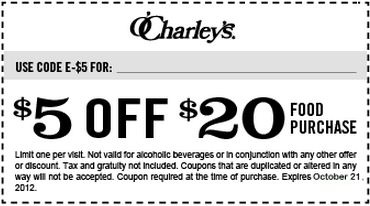 picture regarding O'charley's $5 Off $20 Printable Coupon identify Ocharleys discount coupons 5 off / Household depot printable discount codes inside of