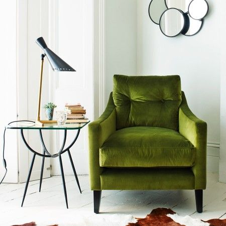 Jamie Graham's Deep Dream Armchair covered in sumptuous vintage green velvet via Graham & Green