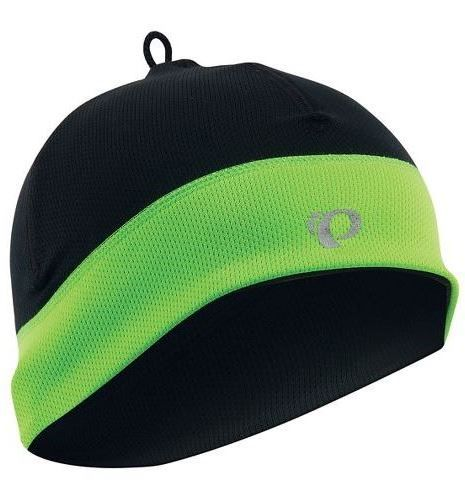 Pearl Izumi Thermal Hat: Winter beanie or cap with yellow/green elements that's good for biking in cold weather to wear under your bike helmet!