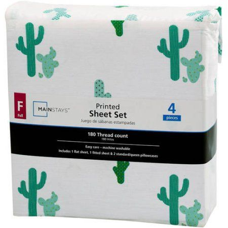 Mainstays 180 Thread Count Sheet Set, Full, Cactus, Multicolor