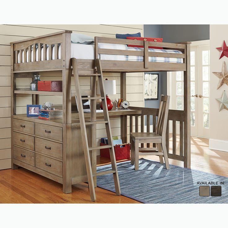 NE Kids Highlands Collection Driftwood Full-size Loft Bed, Dresser, and Desk