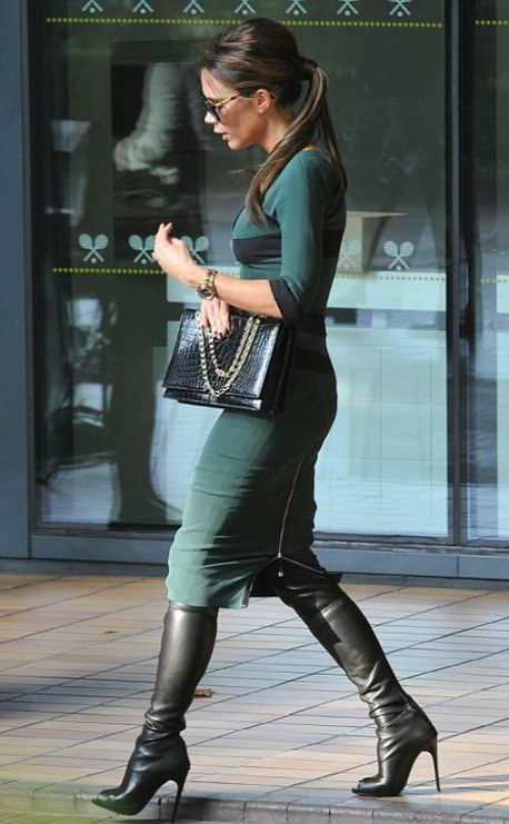 Victoria Beckham in a Victoria Beckham Fall/Winter 2012 Dress.