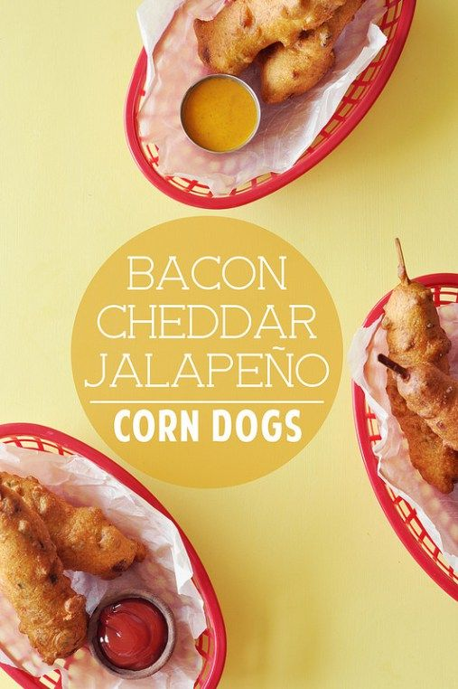 Homemade corn dogs made with a bacon, cheddar, and jalapeño batter. They're super easy to make and are perfect for a fun dinner or lunch! You can easily freeze them, and reheat them in the oven whenever you want a delicious snack!