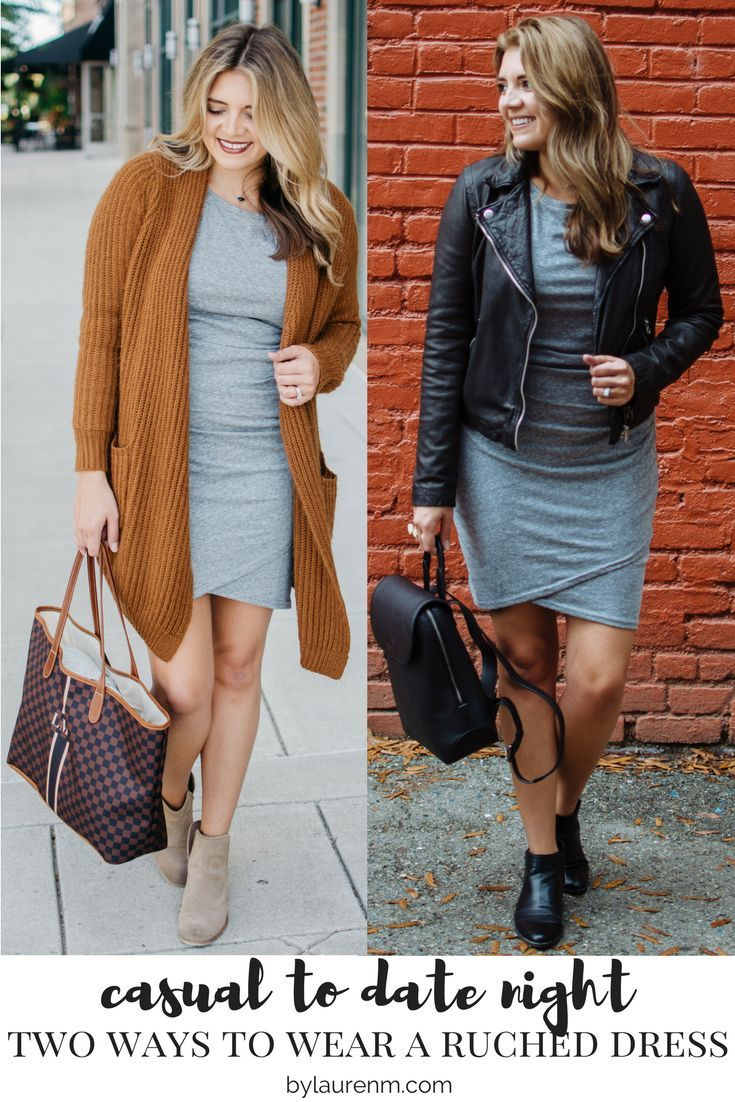 ruched dress fall outfits - two ways to wear a ruched dress   For more cute Fall outfit ideas, click through to bylaurenm.com!