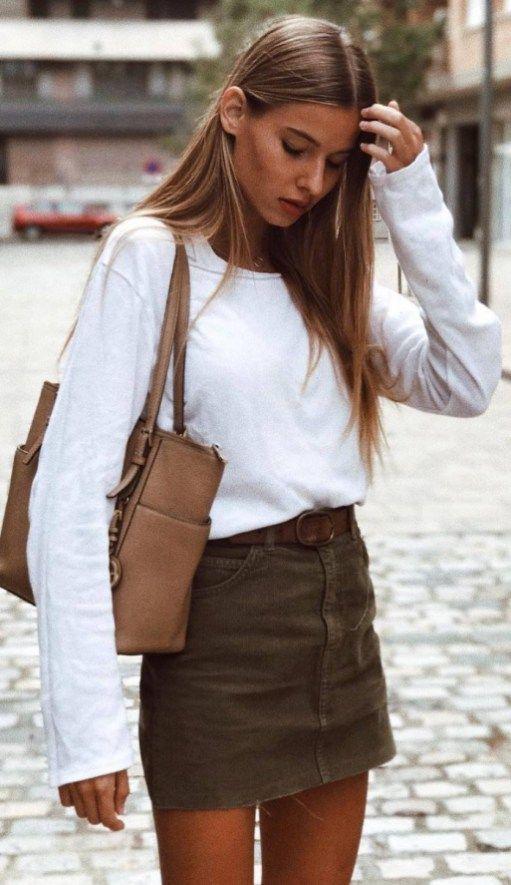 Simple Outfit Idea White Top Plus Bag Plus Skirt  e0bf0a666ceaf