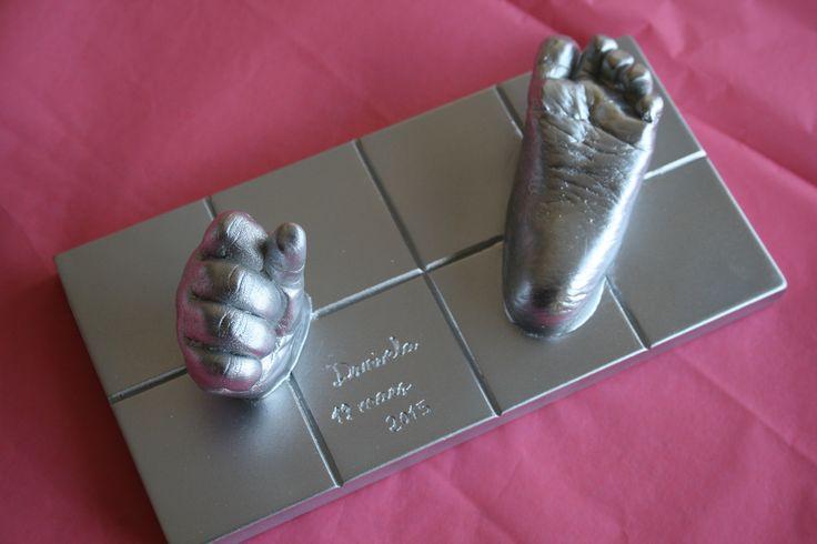 Bebé- huella 3d base rectangular plata