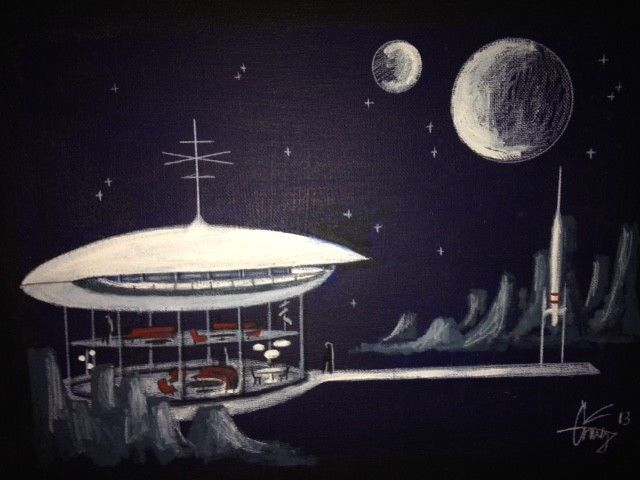 El Gato Gomez Painting Retro Sci-Fi Saucer Rocket Planet Mid-Century Modern