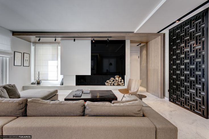 Apartment in Voula Living room - Fireplace