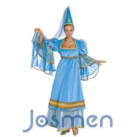 """Princesa Medieval: El sombrero o tocado en forma de cono se llama """"Hennin"""" y era usado por las damas de la nobleza europea durante el siglo XV, por lo general, era acompañado por un velo transparente que solía salir de la parte superior del cono y se dejaba caer sobre los hombros o incluso llegaba a tocar el suelo. http://www.disfracesjosmen.es/13-disfraz-princesa-medieval-azul.html"""