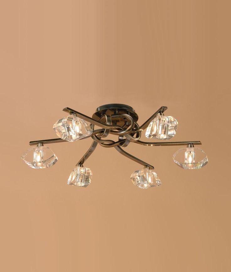 Plafón cuero 6 luces ALFA - La Casa de la Lámpara