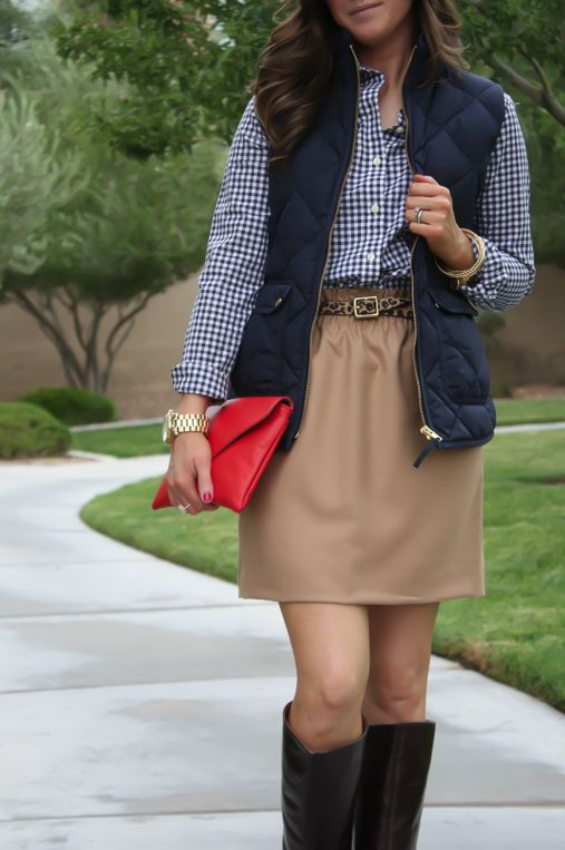 Navy Quilted Vest, Navy Gingham Shirt, Camel Mini Skirt, Leopard Belt, Brown Riding Boots, J.Crew Factory, Gap, J.Crew, Frye 8