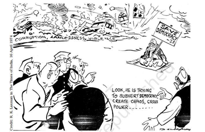 RK Laxman's cartoon on #Emergency.