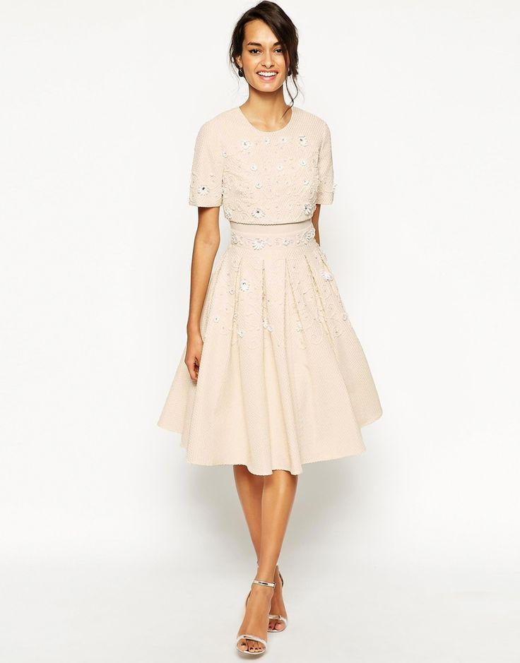 Nice ASOS Daisy Embellished Crop Top Skater Dress