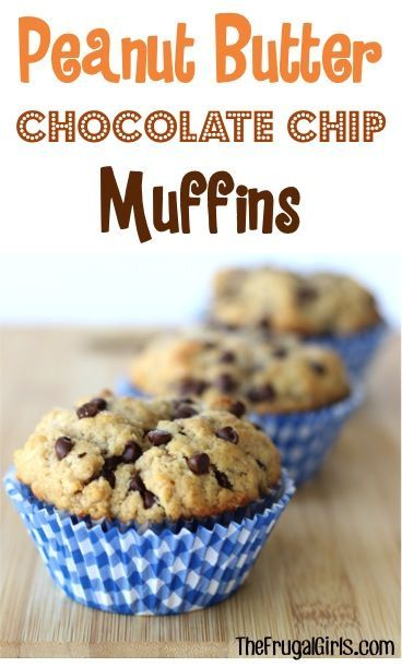 Peanut Butter Chocolate Chip Muffins Recipe! ~ from TheFrugalGirls.com - you'll LOVE this easy, delicious breakfast muffin! #recipes #thefrugalgirls