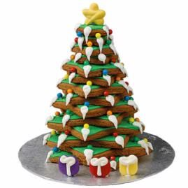 Decorating a tree for Christmas has never been sweeter, or easier. Use the Wilton Pre-Baked Gingerbread Tree Kit. Even the star on top and the gifts below are included (in gingerbread, of course!)